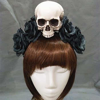 Handmade Black Witch Skull Rose Headband Hairband Accessory Demon Evil Gothic Lolita Cosplay Halloween Headwear Prop  1
