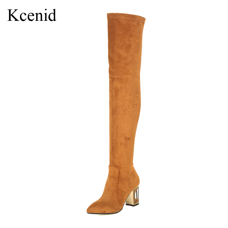 Kcenid Plus size 43 fashion pointed toe over the knee boots birdcage high heels shoes woman autumn winter cow suede long boots