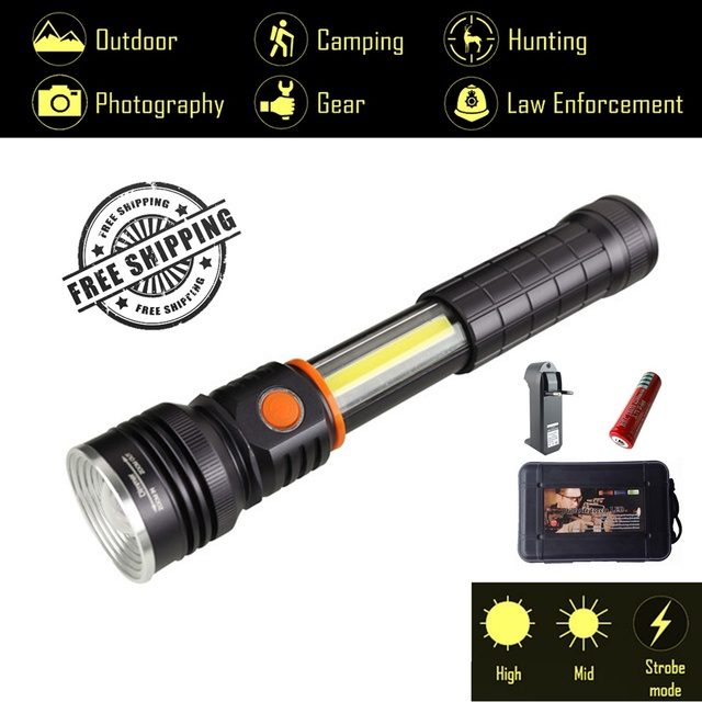 Explorer An 4 Modes Tactical Flashlight And Cob Work Light With Magnetic Base Led