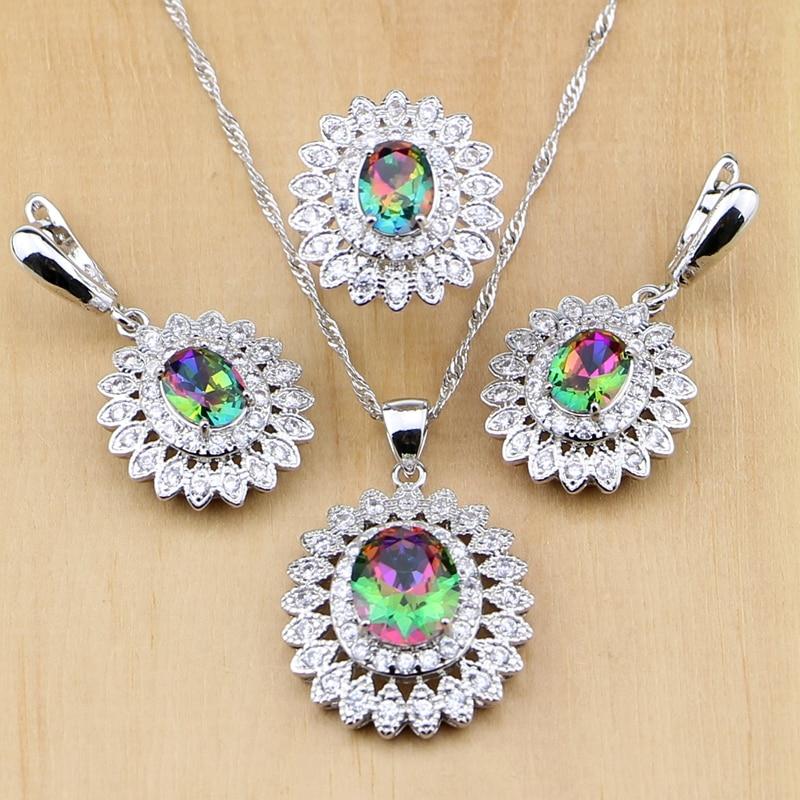 Mystic Rainbow Fire Cubic Zirconia Jewelry Sets 925 Sterling Silver Jewelry For Women Wedding Earrings Pendant