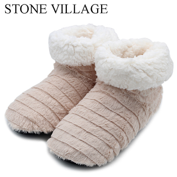 STONE VILLAGE Superior Quality Cute Bow Home Slippers 2018 New Korea Style Print Plush Warm Winter Women Slippers Woman shoes 2