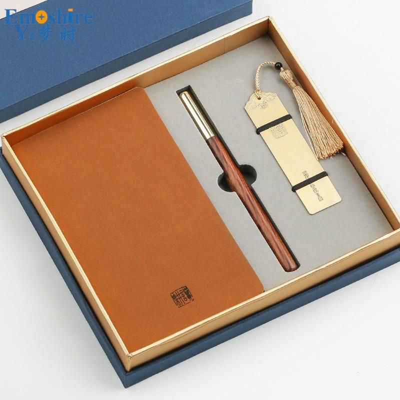 Nouveau signet en métal marque Notebook Woooden stylo à bille rouleau stylo à bille stylo à bille pour homme d'affaires cadeau ensemble P445