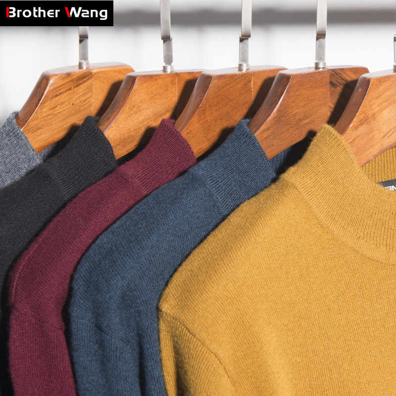 2019 Winter New Men's 100% Wool Sweater Thicken Warm Semi-turtleneck Cashmere Slim Pullover Male Brand Clothes Solid Color