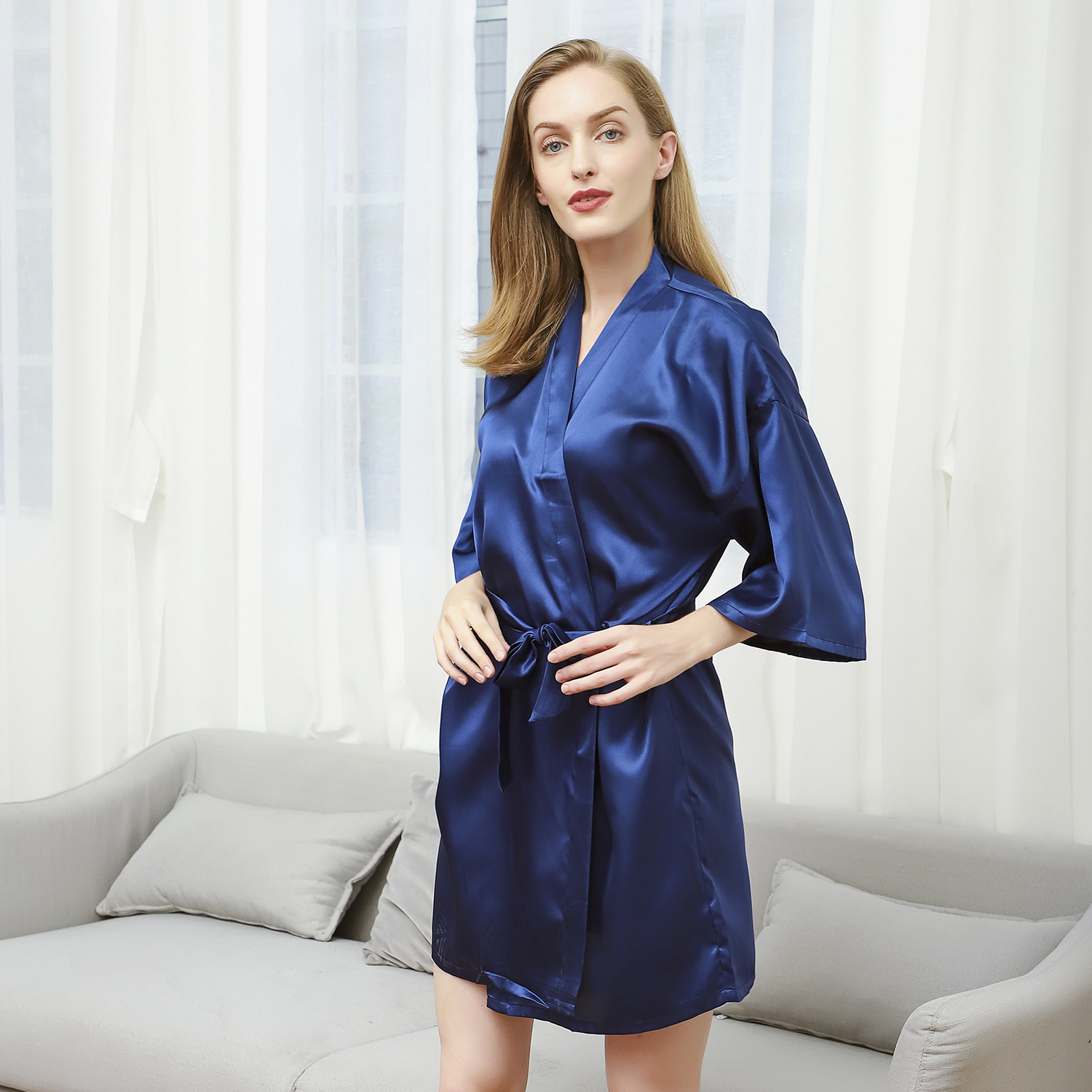 Navy Blue Lady Short Kimono Bathrobe Women Satin Sleepwear Solid Color Wedding Bride Bridesmaid Robe Lounge Home Wear M-XL