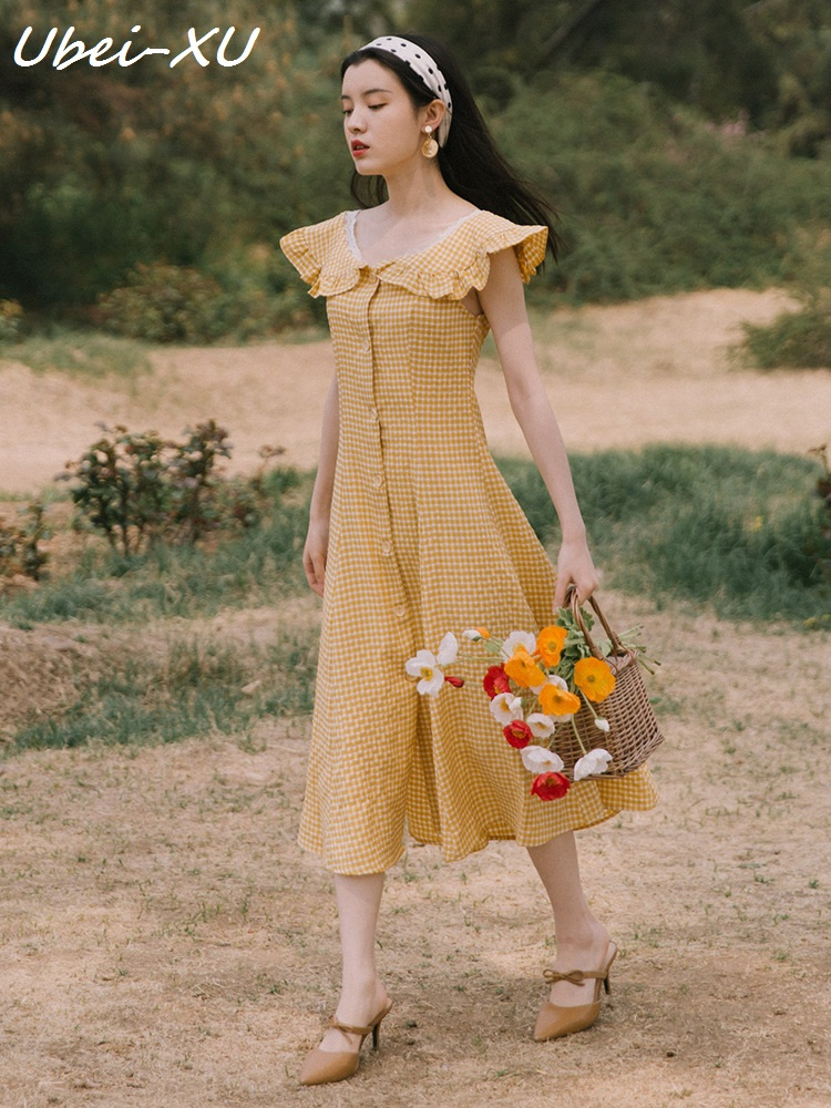 Ubei New 2019 summer fairy French style plaid sleeveless ladylike long dress fashion peter pan collar yellow holiday dress women in Dresses from Women 39 s Clothing