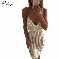 Ruiyige 2017 Summer Women Dresses Lady Gold Backless Sexy Vestidos V Neck Sequin Party Dress Harness