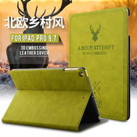 UTOPER 3D Deer Pattern Case For IPad Pro Case Retro Sleep Wake Up Flip Leather Cover