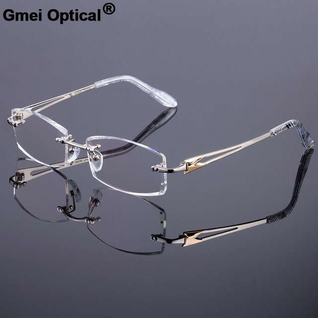 fe28bff84ebb Detail Feedback Questions about New Men Rimless Style Frame Women Titanium  Alloy Optical Frame Diamond Trimming Cut Rimless Spectacles With Colourless  ...