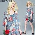 Oufanci 2017 sexy vestido de verão dress impressão de seda elegante casual solto dress diamantes com decote em v de linho de seda bohemian curto dress