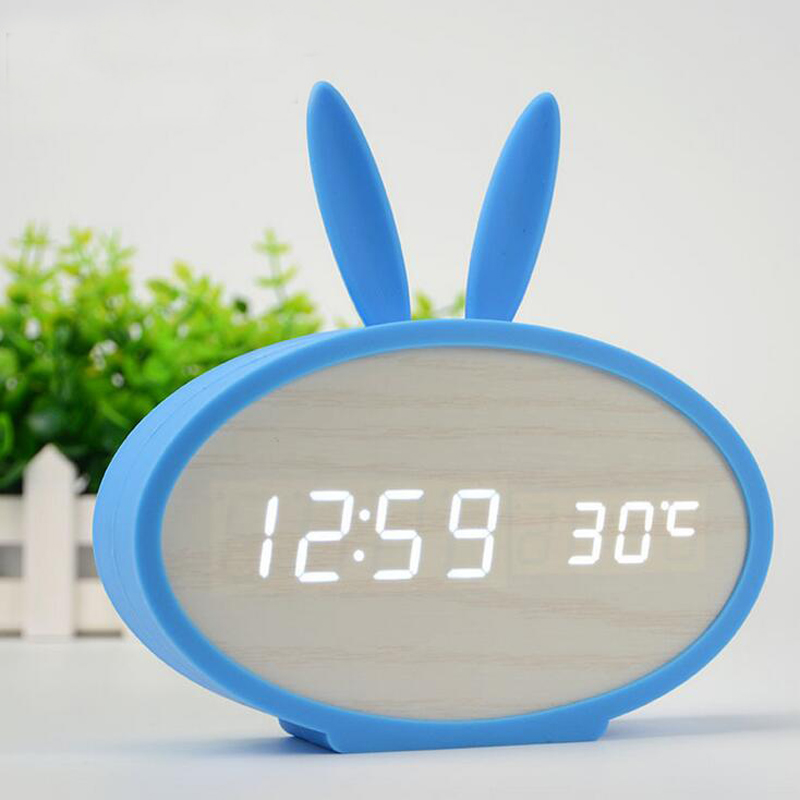 LED Wooden Alarm Clock with Voice Control Cute Rabbit Digital Clock with Temperature Date Display Ideal Gift for Kids Home Decor