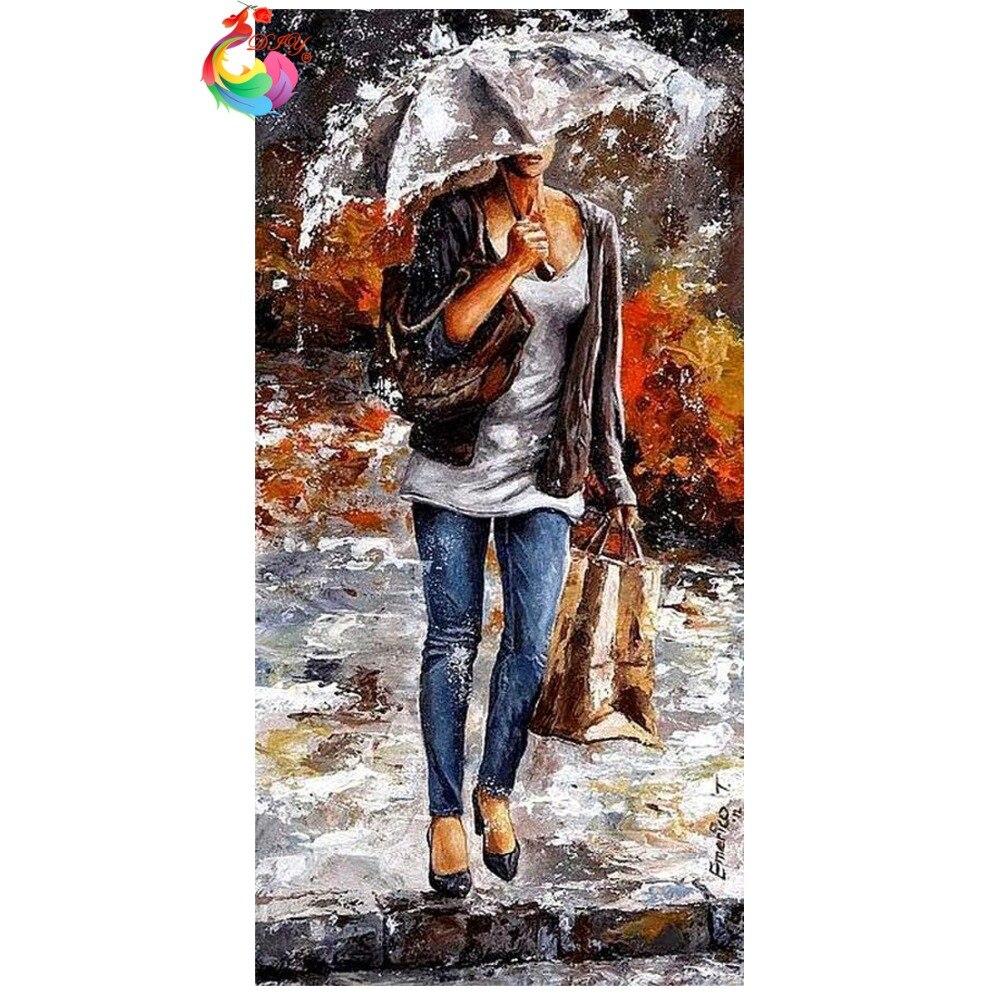 ᗐbordado De Diamantes 5d Pintura Diamante Bricolaje Paisaje Paraguas Conjunto Completo Rhinestone Cuadrado Patrón De Mosaico De Diamantes Decoración Del Hogar A134