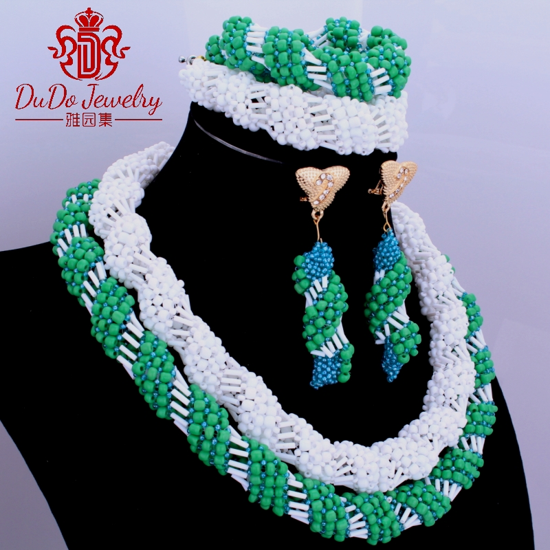 Trendy Multicolor African Beads 2 Layers Bridal Jewelry Sets African Crystal beads Necklace Set Sexy African Jewelry Sets 2017 african symbolism