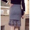 Корейский стиль осень зима женщины кружева цветочные лоскутная тонкий юбка femme мода элегантный юбка-карандаш высокая талия плюс размер S-5XL