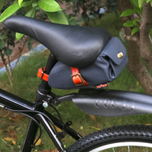 Tourbon Outdoor Bicycle Saddle Bag Seat Tail Pouch Retro Blue Canvas Phone Pouch Bike Case Water