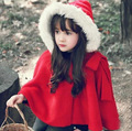 Kids Girls Winter Christmas Clothes Wool white fur collar children trench girls coats windbreaker on girl children's clothing