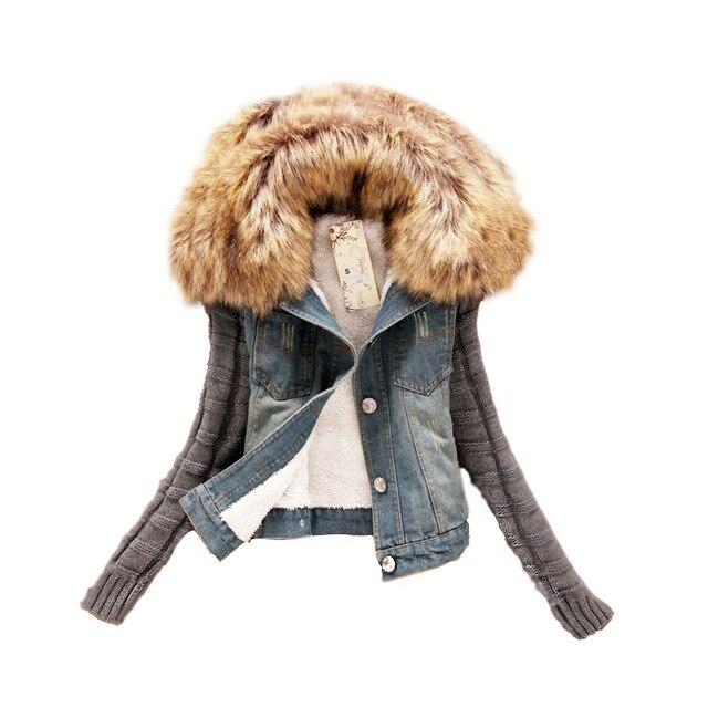 2016 Mulheres Primavera Outono Jaqueta Curta Jeans plus size Mulheres Fios de inverno Fino Grande Gola De Pele de Cordeiro Denim Algodão calças de Brim Outerwear