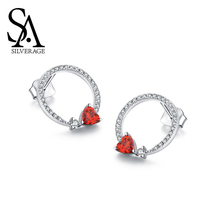 SA SILVERAGE Earbone Small Ear Female Temperament Korea Stud Earring Elegant Silver One Arrow Fall In Love S925 Sterling