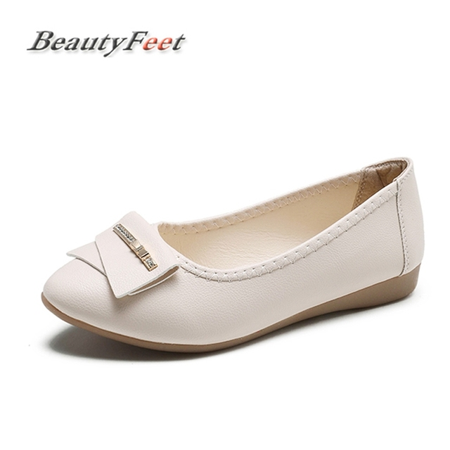350586b37c4 Pregnant Women Shoes Woman Loafers Ballet Flat Heel Shallow Nurse Boat Shoes  Female Beige Black Driving Casual Flats BeautyFeet