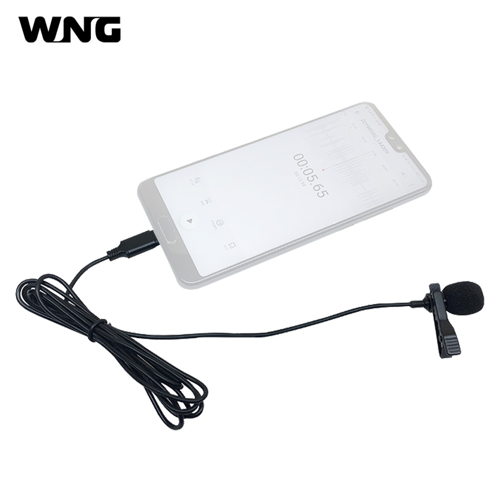 Lavalier Microphone Omni-Directional Type-C Plug With Collar Clip For Smartphone
