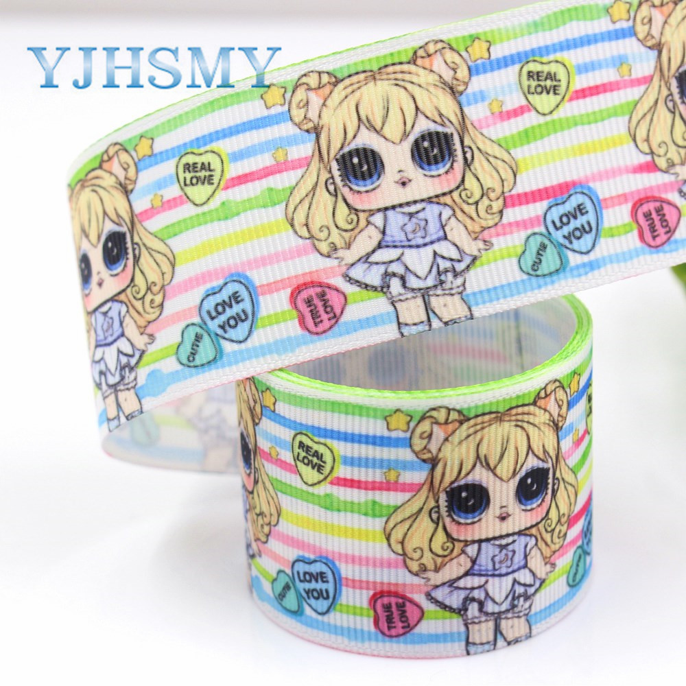 YJHSMY G-181005-1318,10yards 38mm Big eyes girl Ribbons Thermal transfer Printed grosgrain,DIY handmade,gift wrapping materials