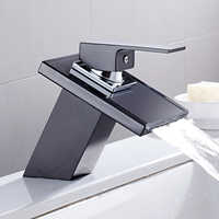 Glass Waterfall Basin Faucet for Bathroom The Black Deck Mount Square Vanity Sink Mixer Tap Bathroom Faucet Single Handle