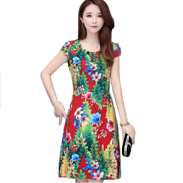 US $9.15 45% OFF|Summer New Women Cotton Dress Floral Printed O Neck Short  Sleeve Casual Loose Vintage Dresses Plus Size 5XL Vestidos-in Dresses from  ...