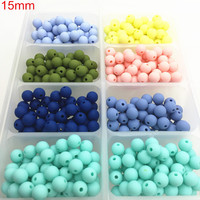 New Silicone Teething Beads 15mm Multi 100PCS Silicone Loose Bead Chewing Teether Beads Wholesale Stainless Steel