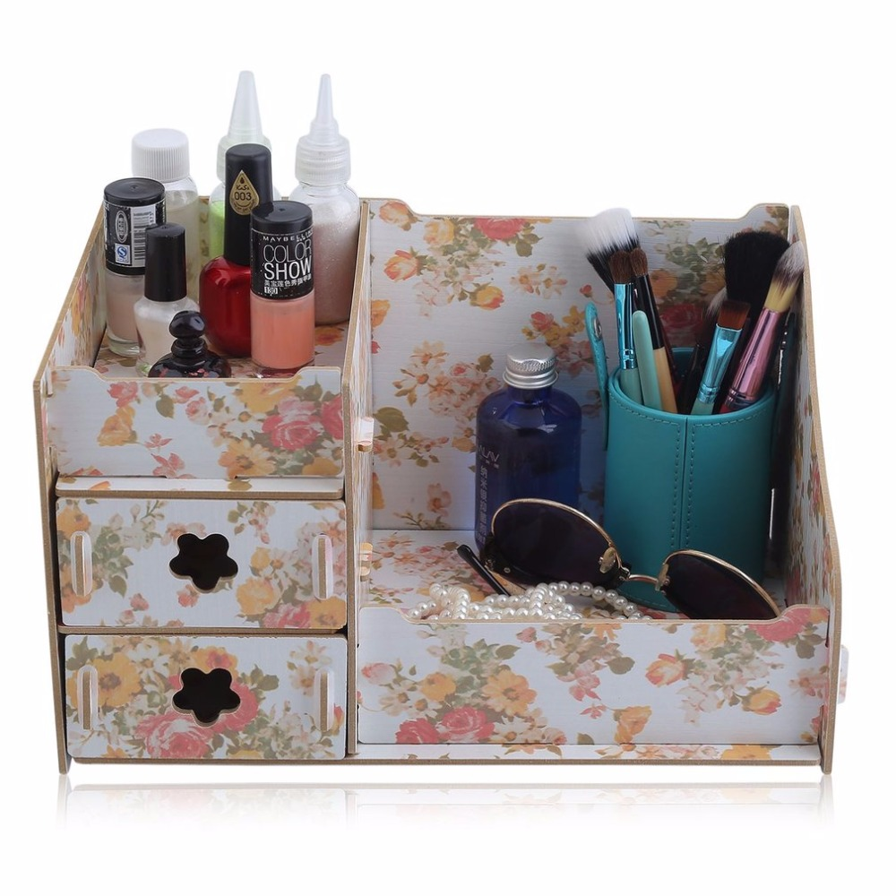 519335f283bd Durable Wooden Jewelry Box Handmade Makeup Storage Case Large ...