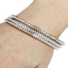 Здесь можно купить  Top Quality Stainless Steel Fashion Round Shaped Full Rhinestone Crystal Bangle For Women Charm Band Bracelets Set (A1023-24-25)