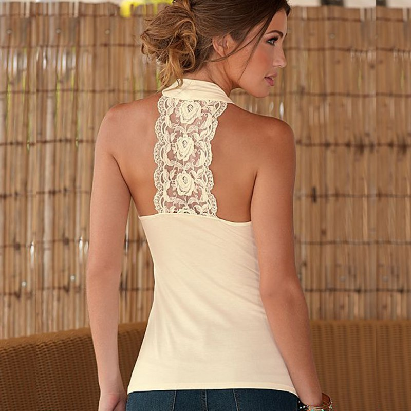 2019 Fashion Summer Women   Top   Female Halter Neck Strapless   Tank   Shirt Sexy Backless Lace Stitching Vest Plus Size