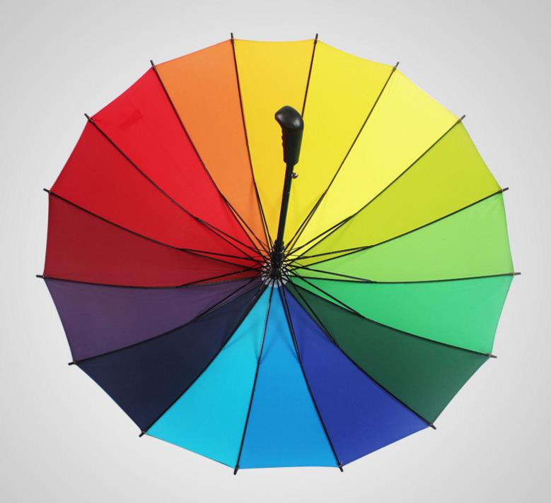 Rainbow Golf Fishing Umbrella Unisex Parasol Wedding Party Favors gift new Sunny and Rainy Umbrellas 16k Windproof drop shipping