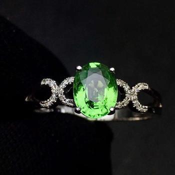 Tsavorite Ring Fine Jewelry Real 18 K Gold Jewelry Natural Unheat 1.3ct Tsavorite Gemstones Tsavorites Female Wedding Rings 3