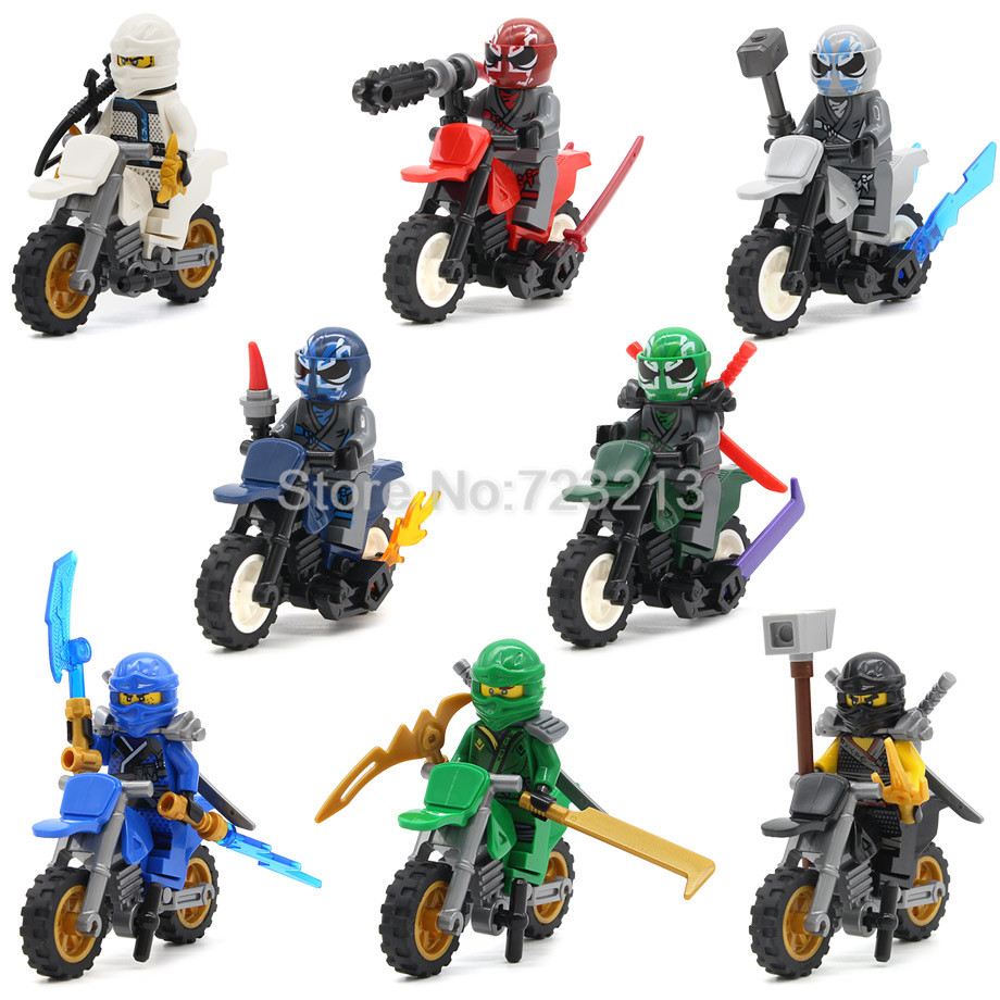8pcs Ninjagoed Series Motorcycle Nya Figure Set Kai Jay Cole Zane Building Blocks set Model Educational Toys for Children