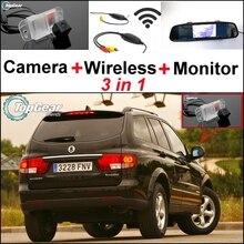 3 в 1 Специальная камера заднего вида+ беспроводной приемник+ зеркальный монитор легко DIY резервная система парковки для SSangYong Kyron
