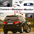 3 in1 Special Rear View Camera + Wireless Receiver + Mirror Monitor Easy DIY Back Up Parking System For SSangYong Kyron