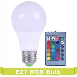 16 цветов, сменный светодиодный светильник Lampara, лампа для украшения дома, 220 В, RGB, светодиодный светильник E27 3 Вт, 5 Вт, 7 Вт, ИК-пульт дистанцион...