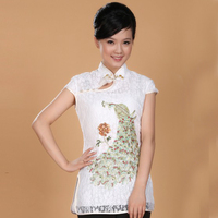 2014 New Summer Fashion Lace Embroidery Chinese Tradition Women S Top Blouse Shirt White Size S