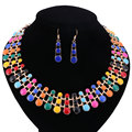 African Beads Jewelry Sets Three layers Enamel Pendant Necklace Earrings Painting Wedding Bridal Pendant Dress Accessories