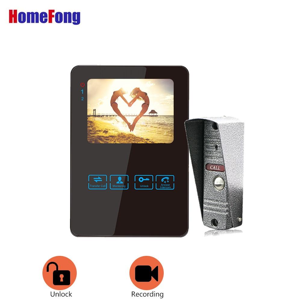 Homefong  4 Inch Wired Video Door Phone Doorbell Intercom System Video Camera Black/White Record Waterproof Rainproof