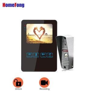 Image 1 - Homefong 4 pouces filaire vidéo porte téléphone sonnette interphone système vidéo caméra noir/blanc enregistrement étanche à la pluie