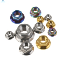 Wanyifa Titanium Nuts M5 M6 M8 M10 M12 M14 Flange Nut Srew Bolts for Motorcycle Bicycle Bike