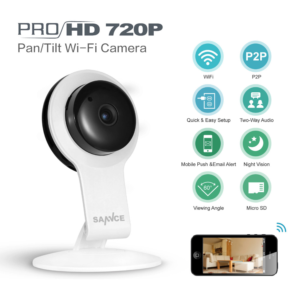 cheapest sannce mini ip camera wifi micro sd cctv security camera 720p wireless webcam audio. Black Bedroom Furniture Sets. Home Design Ideas