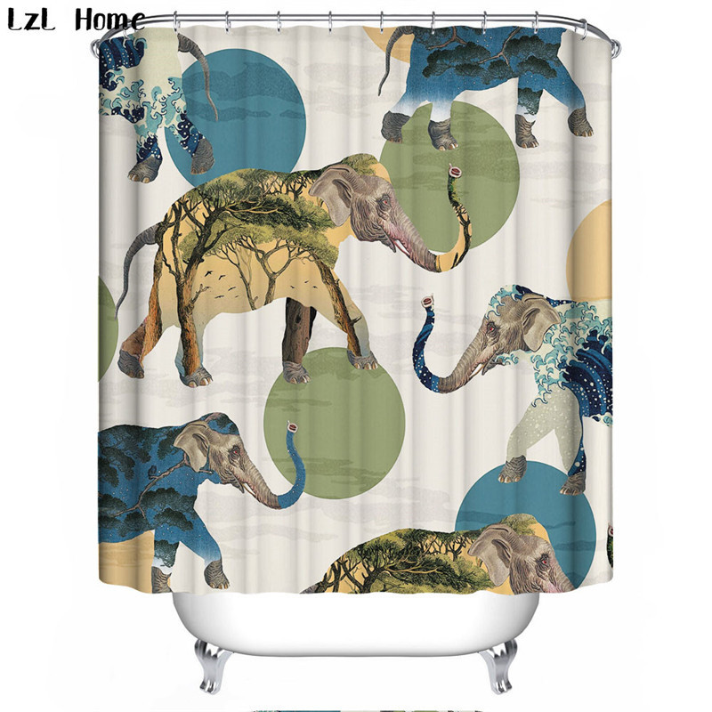 Scenery 3d Waterproof Bathroom Curtain Cartoon Car Fabric Shower Elephant Bath With Hooks Christmas Decorations In Curtains From Home