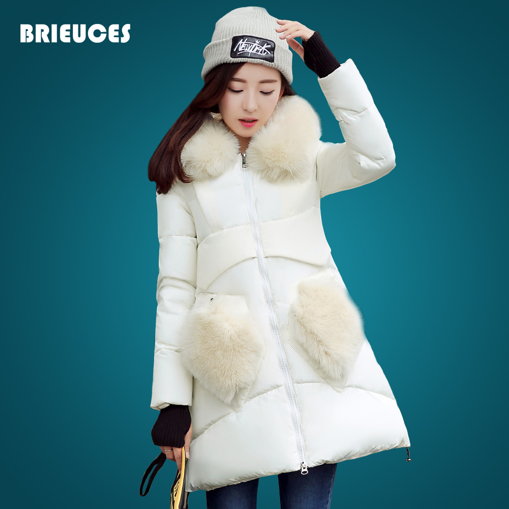 Brieuces winter jacket women large fur hooded pockets winter coat women thick coat plus size solid color long cotton down parka winter women down cotton coat long section thick warm cotton jacket solid color wild pockets zipper casual jacket loose parka