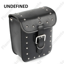 Black Cool Hight Quality Motorcycle Accessories PU Leather Rivet Side Tool Bag Luggage Saddlebag Storage UNDEFINED
