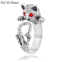 e2d3eb4e6cc2 Fei Ye Paws Punk Red Eye Cat Metal Wrap Ring Anel For Women Animal Finge  Knuckle