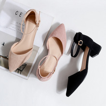 women pumps Word buckle Hollow Suede Single shoes Thick with Pointed Toe High heels women shoes