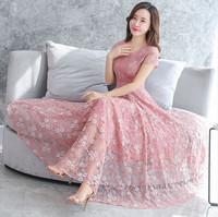 Elegant Floral Lace Chiffon Dress Summer Women Long Dress Floor Length Pleated Women Short Sleeve Party Maxi Dress