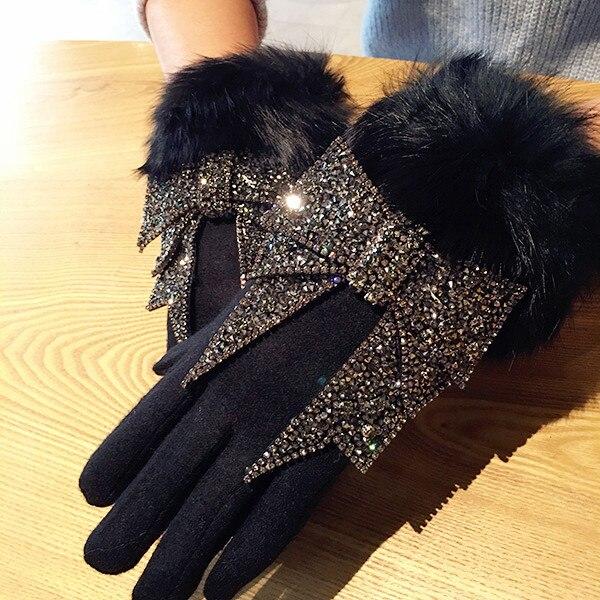 Las mujeres de invierno de lana, guantes de pantalla táctil de diamantes de imitación de lujo Bowknot guantes mujer guantes de cachemir cálido guantes Luva