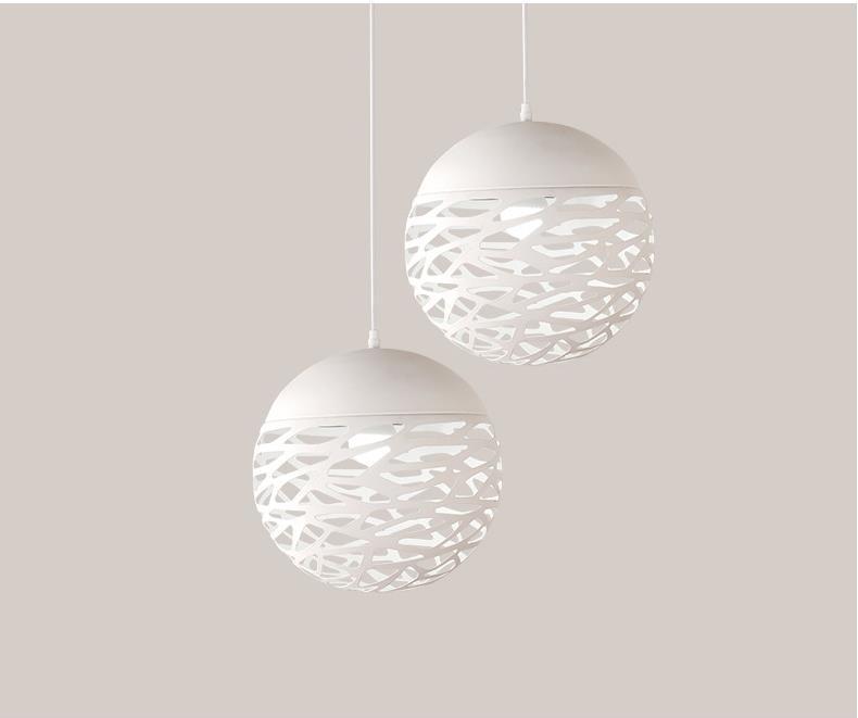 White Metal Pendant Lights round balls lampadario moderno Halogen Suspension pendant lamp Ac90 260V Hallon pendant fixture